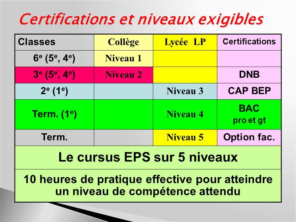 Certifications et niveaux exigibles Classes CollègeLycée LP Certifications 6 e (5 e, 4 e ) Niveau 1 3 e (5 e, 4 e ) Niveau 2 DNB 2 e (1 e ) Niveau 3 C