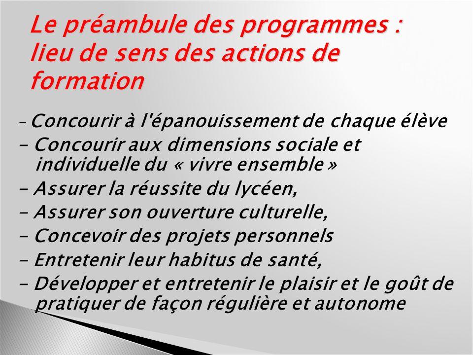 Le préambule des programmes : lieu de sens des actions de formation - Concourir à l'épanouissement de chaque élève - Concourir aux dimensions sociale