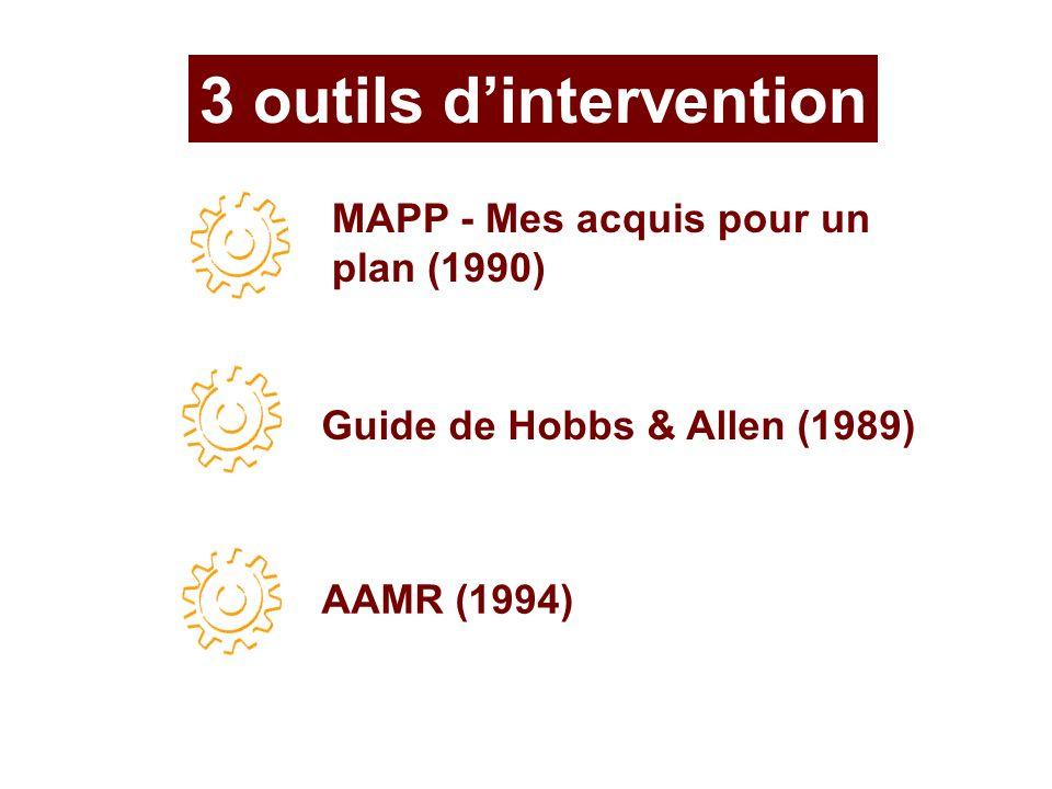 3 outils dintervention MAPP - Mes acquis pour un plan (1990) Guide de Hobbs & Allen (1989) AAMR (1994)