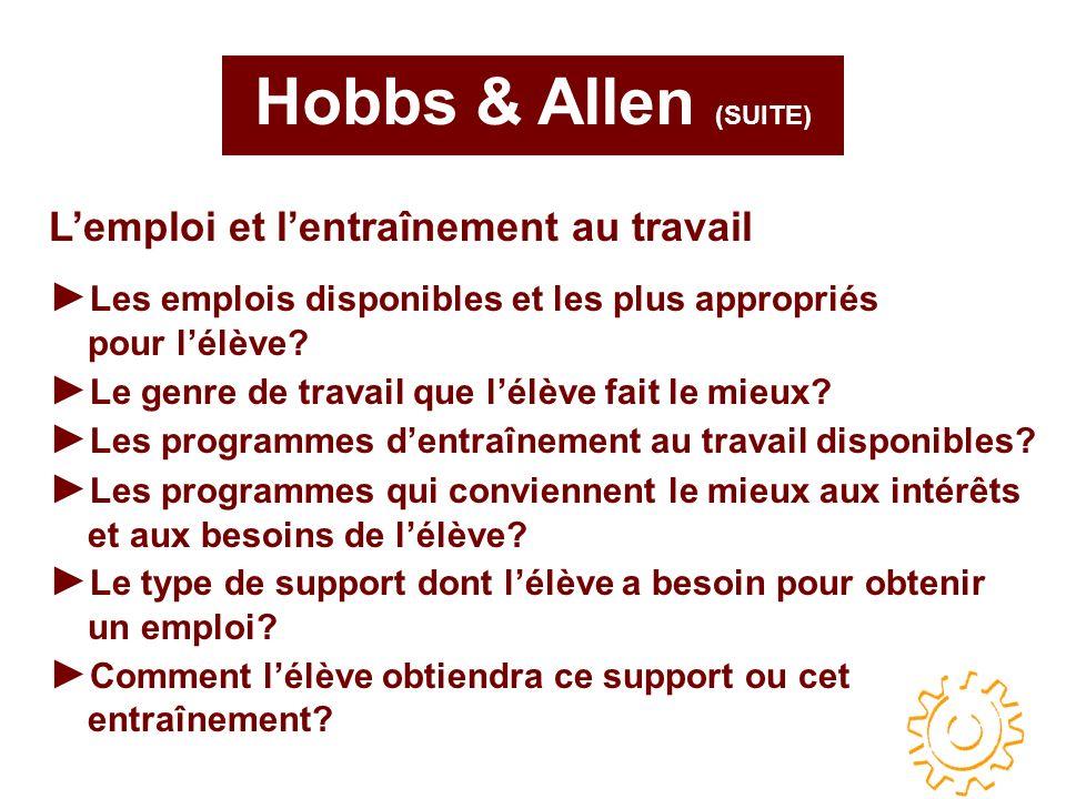 Hobbs & Allen (SUITE) Les emplois disponibles et les plus appropriés pour lélève.