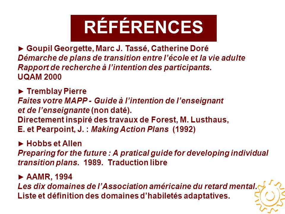 RÉFÉRENCES Goupil Georgette, Marc J.