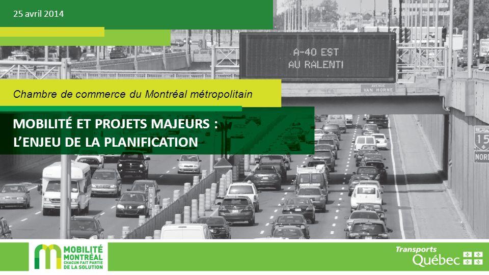 25 avril 2014 MOBILITÉ ET PROJETS MAJEURS : LENJEU DE LA PLANIFICATION Chambre de commerce du Montréal métropolitain