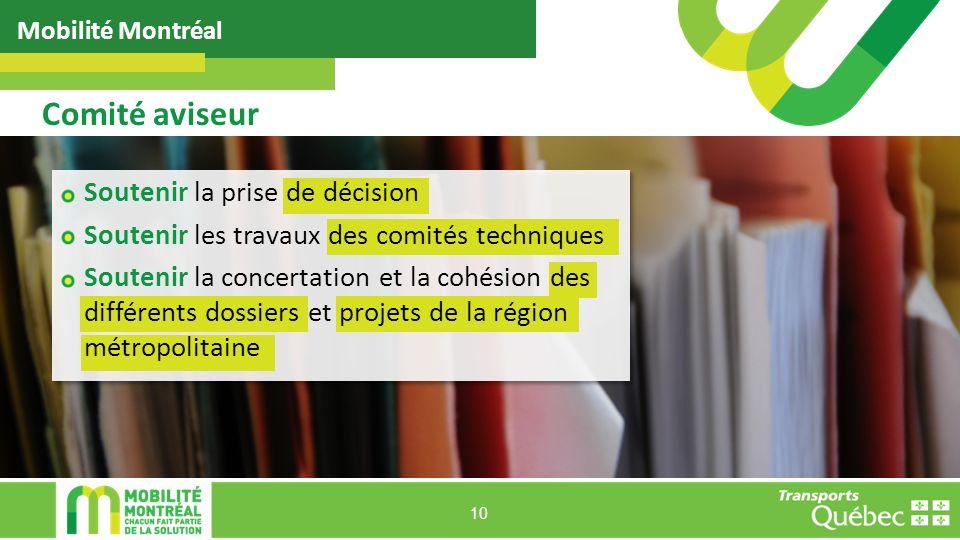 Mobilité Montréal 10 Comité aviseur Soutenir la prise de décision Soutenir les travaux des comités techniques Soutenir la concertation et la cohésion des différents dossiers et projets de la région métropolitaine