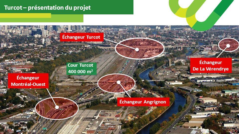 Échangeur Turcot Turcot – présentation du projet 11 Échangeur De La Vérendrye Échangeur Angrignon Échangeur Montréal-Ouest Cour Turcot 400 000 m 2