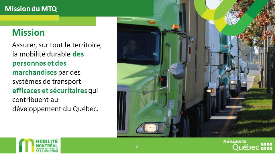 Assurer, sur tout le territoire, la mobilité durable des personnes et des marchandises par des systèmes de transport efficaces et sécuritaires qui contribuent au développement du Québec.