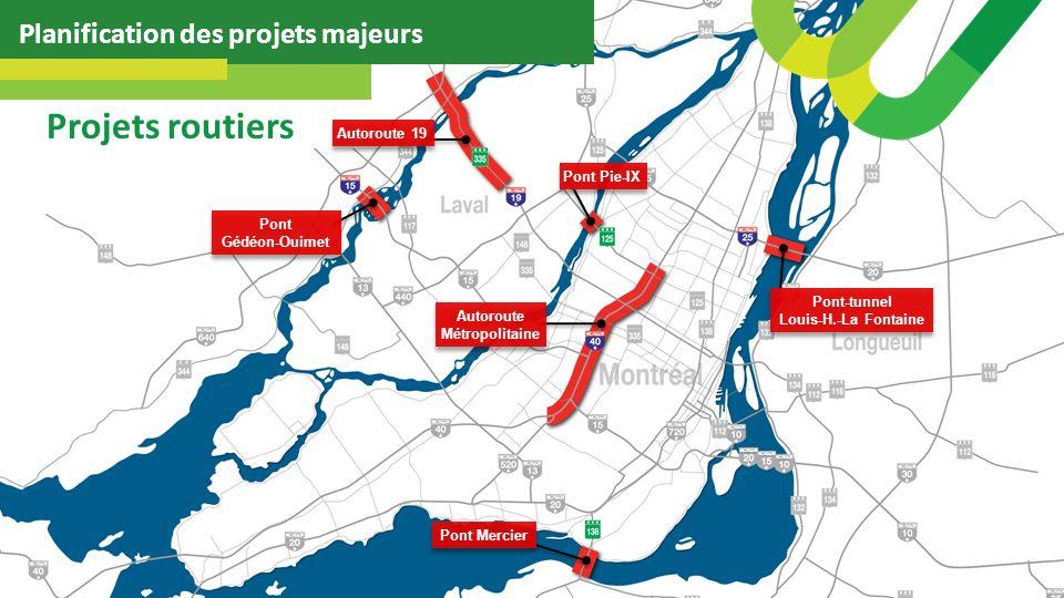 Planification des projets majeurs Projets routiers Pont-tunnel Louis-H.-La Fontaine Autoroute 19 Pont Pie-IX Autoroute Métropolitaine Pont Gédéon-Ouimet Pont Mercier