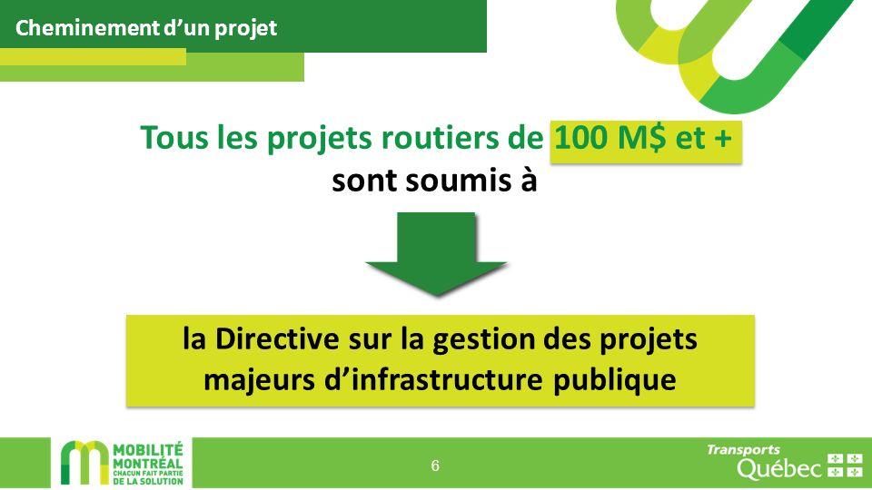 Cheminement dun projet 6 Tous les projets routiers de 100 M$ et + la Directive sur la gestion des projets majeurs dinfrastructure publique sont soumis à
