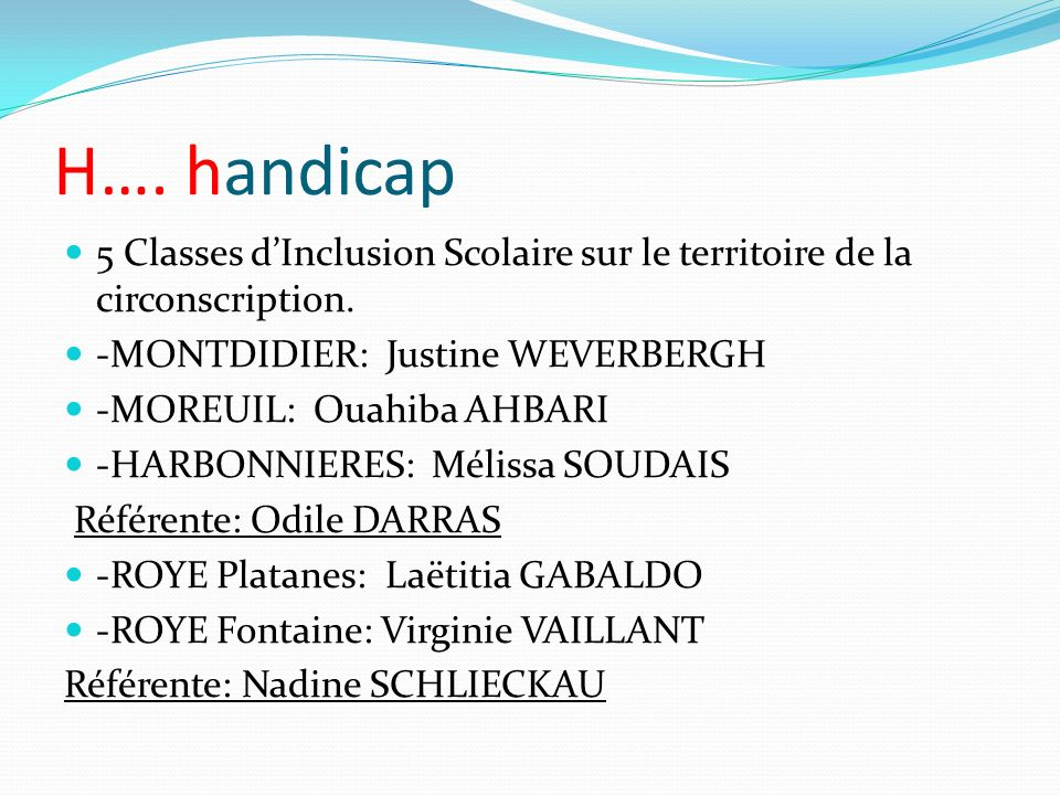 H….handicap 5 Classes dInclusion Scolaire sur le territoire de la circonscription.