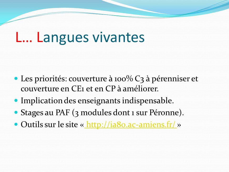 L… Langues vivantes Les priorités: couverture à 100% C3 à pérenniser et couverture en CE1 et en CP à améliorer. Implication des enseignants indispensa