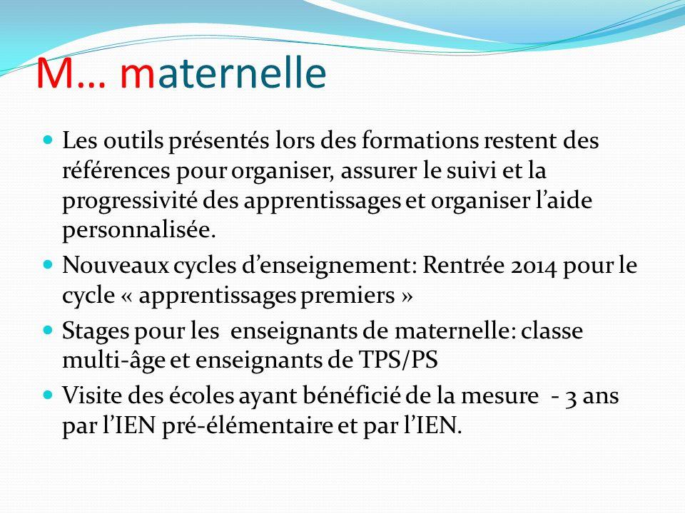 M… maternelle Les outils présentés lors des formations restent des références pour organiser, assurer le suivi et la progressivité des apprentissages