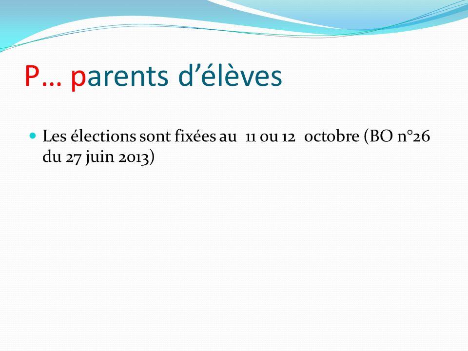 P… parents délèves Les élections sont fixées au 11 ou 12 octobre (BO n°26 du 27 juin 2013)
