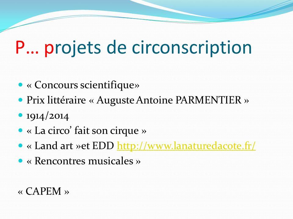 P… projets de circonscription « Concours scientifique» Prix littéraire « Auguste Antoine PARMENTIER » 1914/2014 « La circo fait son cirque » « Land ar