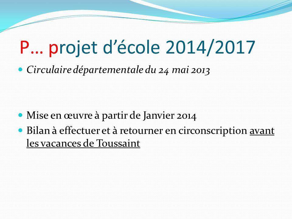 P… projet décole 2014/2017 Circulaire départementale du 24 mai 2013 Mise en œuvre à partir de Janvier 2014 Bilan à effectuer et à retourner en circons