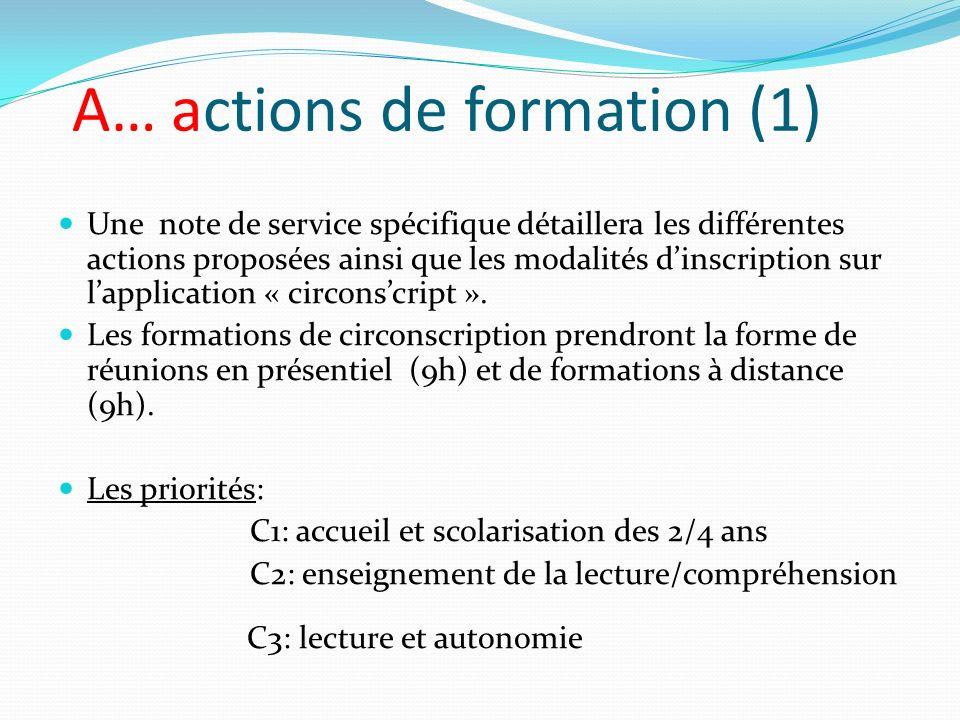 A… actions de formation (1) Une note de service spécifique détaillera les différentes actions proposées ainsi que les modalités dinscription sur lappl