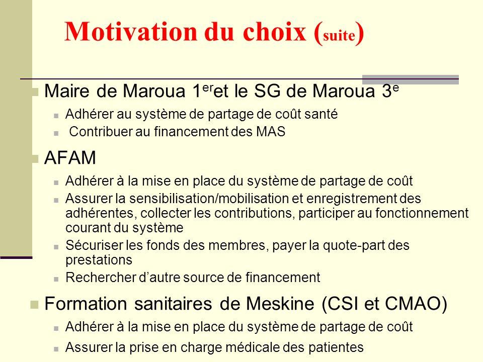 Motivation du choix ( suite ) Maire de Maroua 1 er et le SG de Maroua 3 e Adhérer au système de partage de coût santé Contribuer au financement des MA