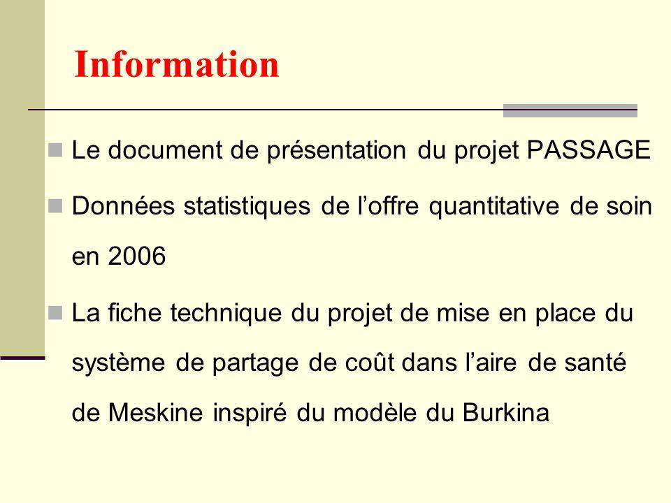 Information Le document de présentation du projet PASSAGE Données statistiques de loffre quantitative de soin en 2006 La fiche technique du projet de