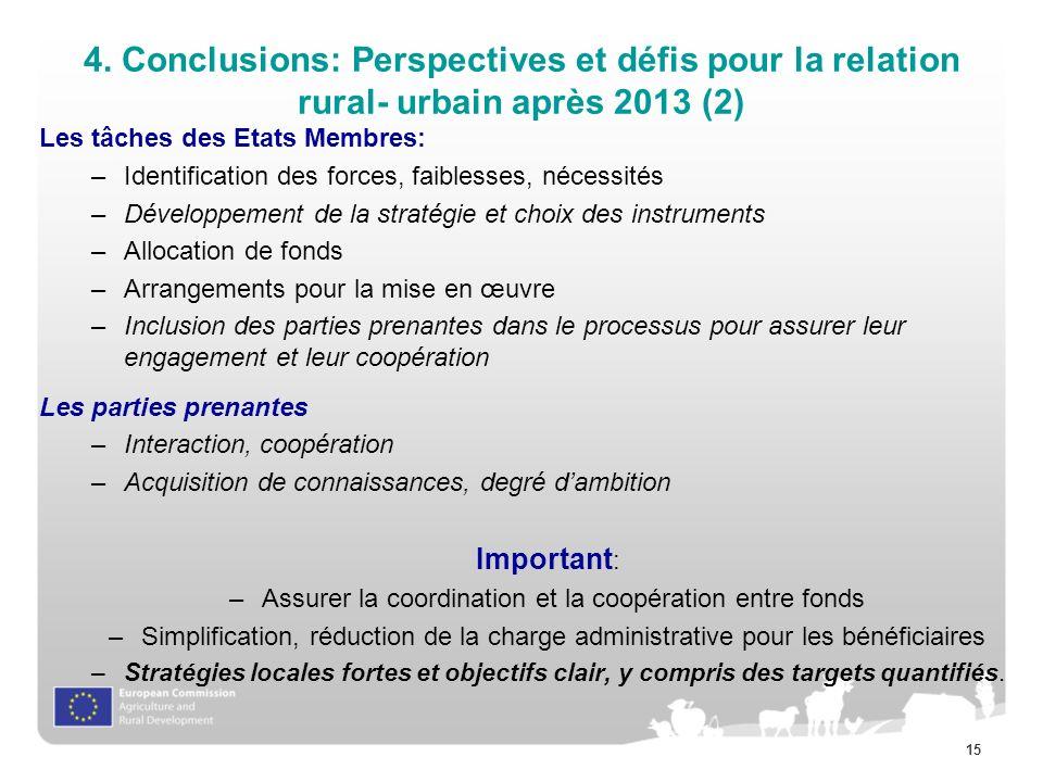 15 4. Conclusions: Perspectives et défis pour la relation rural- urbain après 2013 (2) Les tâches des Etats Membres: –Identification des forces, faibl