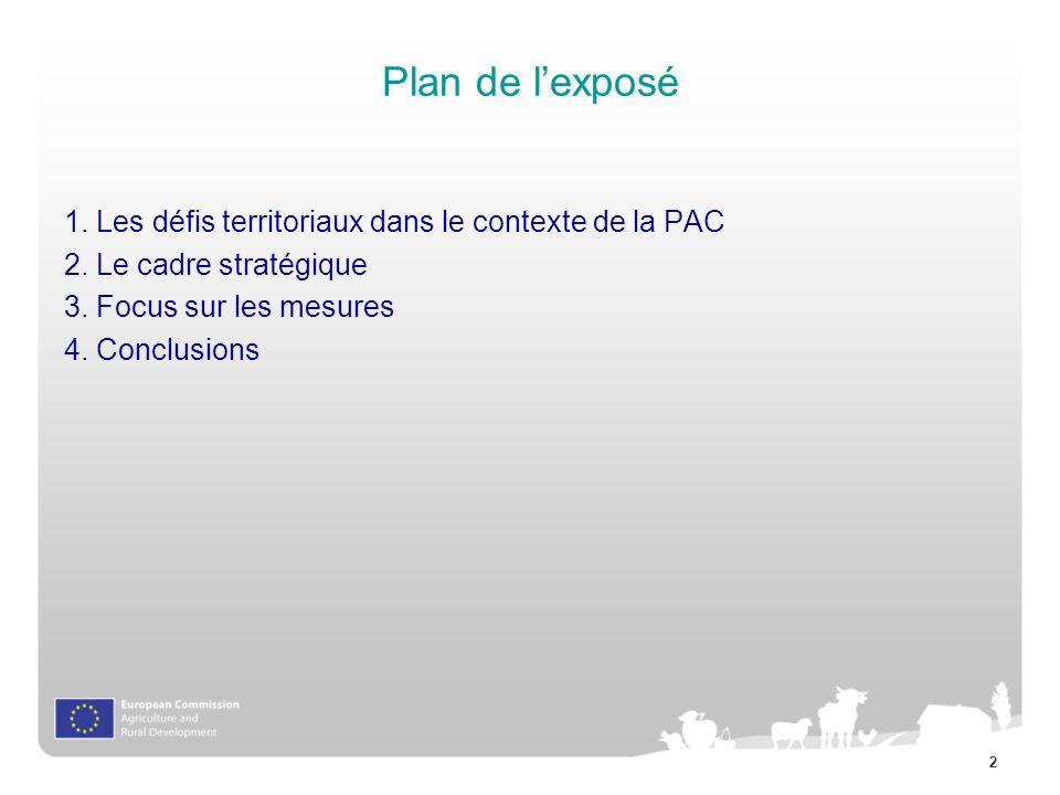 2 Plan de lexposé 1. Les défis territoriaux dans le contexte de la PAC 2. Le cadre stratégique 3. Focus sur les mesures 4. Conclusions