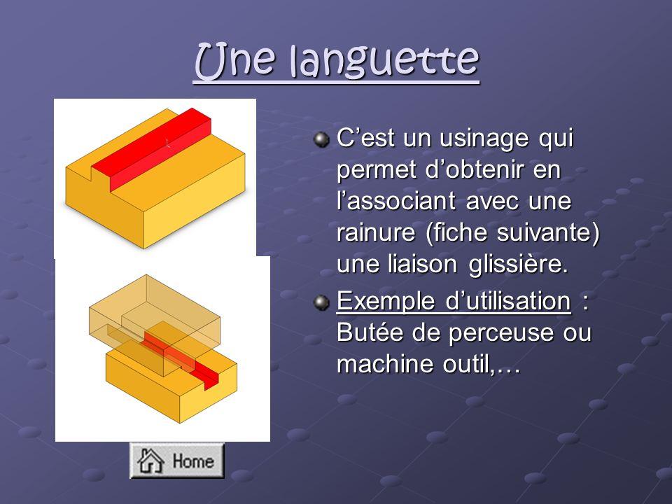 Une languette Cest un usinage qui permet dobtenir en lassociant avec une rainure (fiche suivante) une liaison glissière. Exemple dutilisation : Butée
