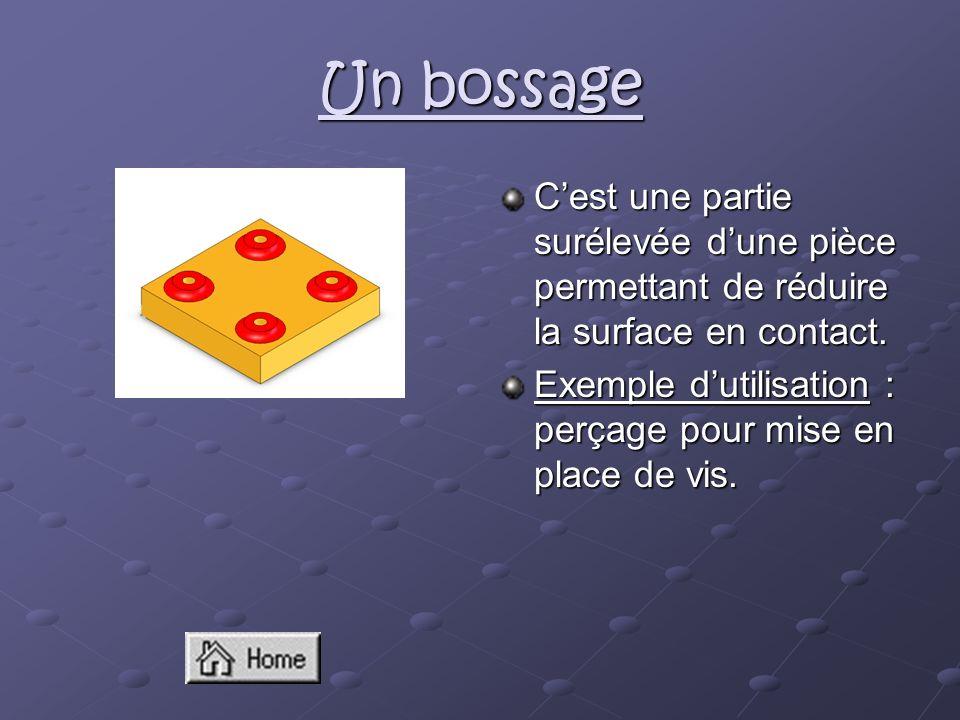 Un bossage Cest une partie surélevée dune pièce permettant de réduire la surface en contact. Exemple dutilisation : perçage pour mise en place de vis.