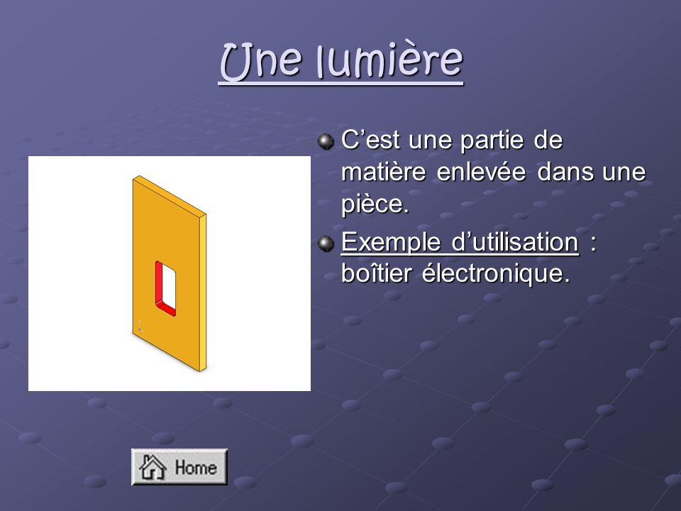 Une lumière Cest une partie de matière enlevée dans une pièce. Exemple dutilisation : boîtier électronique.