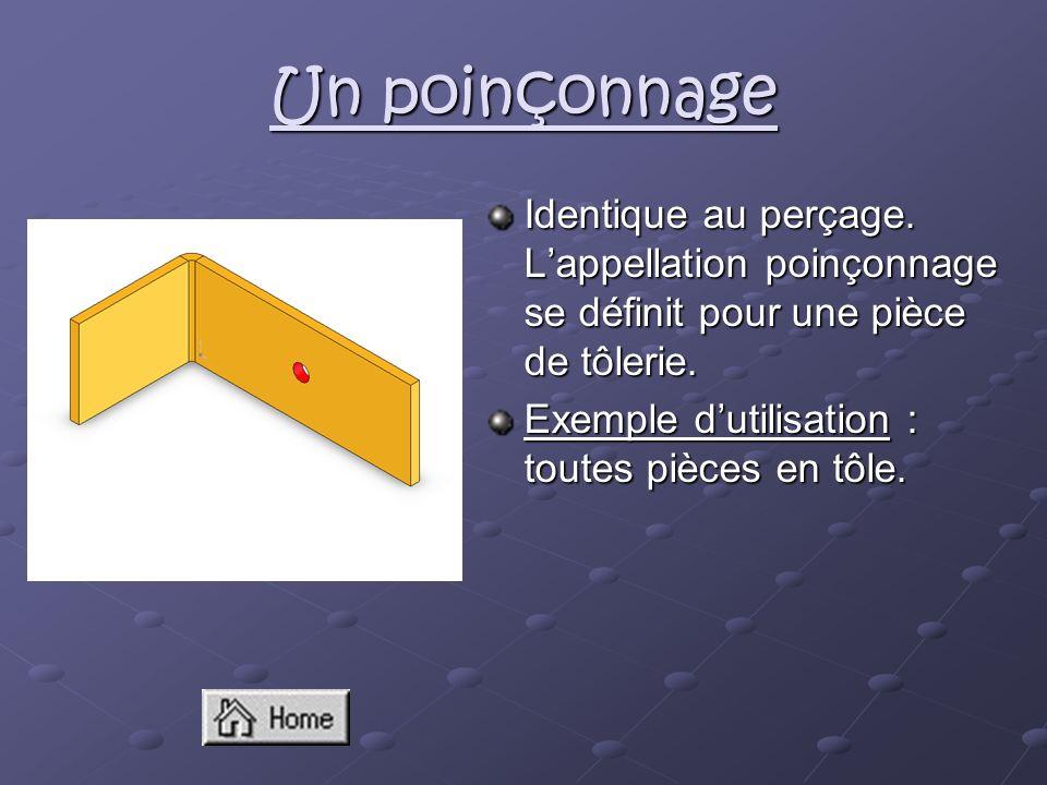 Un poinçonnage Identique au perçage. Lappellation poinçonnage se définit pour une pièce de tôlerie. Exemple dutilisation : toutes pièces en tôle.