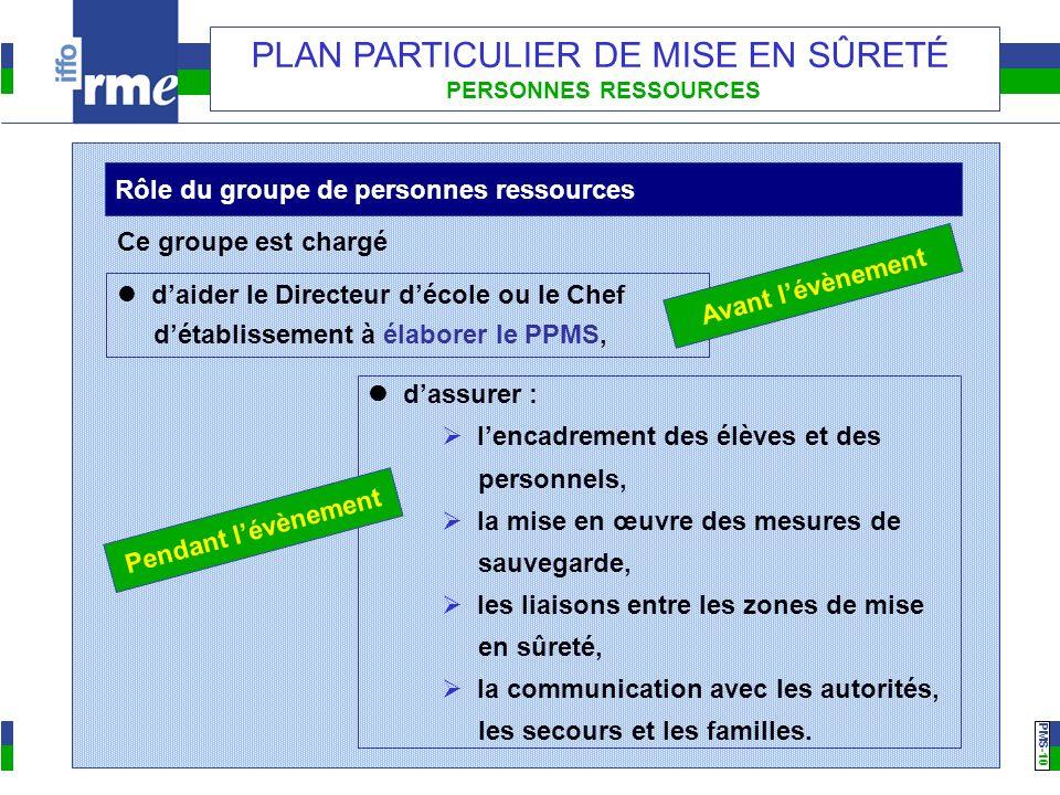 PMS -10 PLAN PARTICULIER DE MISE EN SÛRETÉ PERSONNES RESSOURCES daider le Directeur décole ou le Chef détablissement à élaborer le PPMS, Rôle du group
