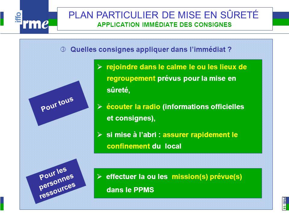 PMS -14 PLAN PARTICULIER DE MISE EN SÛRETÉ APPLICATION IMMÉDIATE DES CONSIGNES Quelles consignes appliquer dans limmédiat ? Pour tous rejoindre dans l