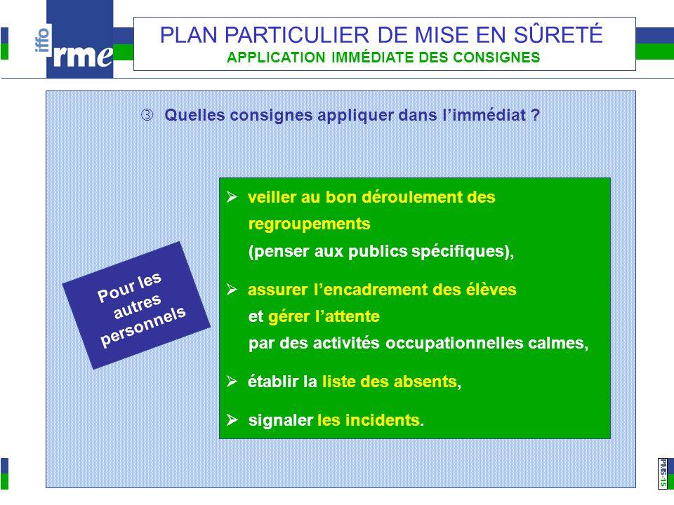 PMS -15 PLAN PARTICULIER DE MISE EN SÛRETÉ APPLICATION IMMÉDIATE DES CONSIGNES Quelles consignes appliquer dans limmédiat ? Pour les autres personnels