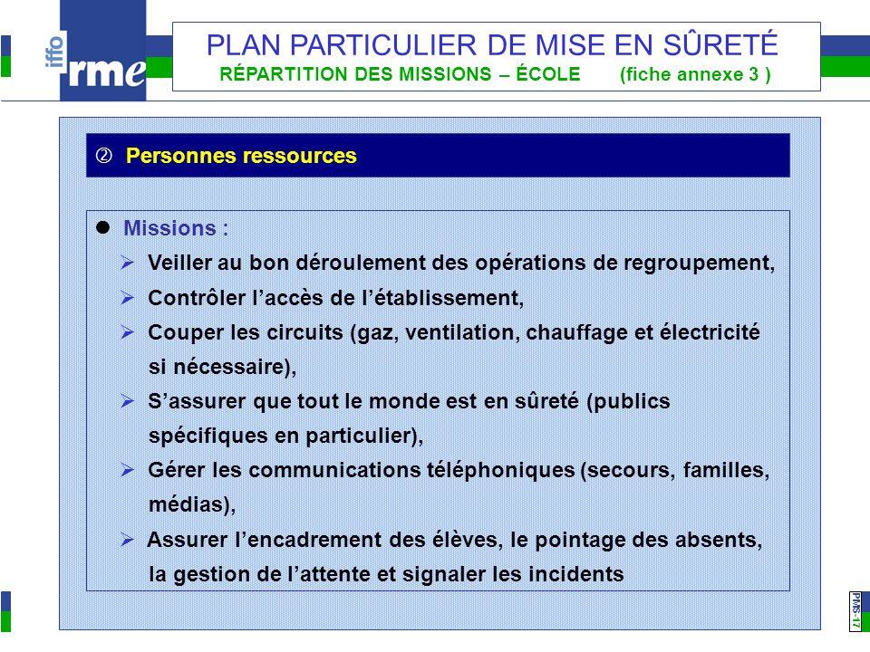 PMS -17 PLAN PARTICULIER DE MISE EN SÛRETÉ RÉPARTITION DES MISSIONS – ÉCOLE (fiche annexe 3 ) Missions : Veiller au bon déroulement des opérations de
