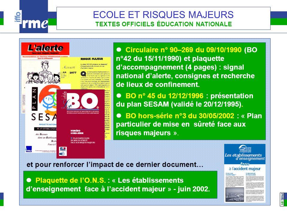 PMS -01 ECOLE ET RISQUES MAJEURS TEXTES OFFICIELS ÉDUCATION NATIONALE Circulaire n° 90–269 du 09/10/1990 (BO n°42 du 15/11/1990) et plaquette daccompa