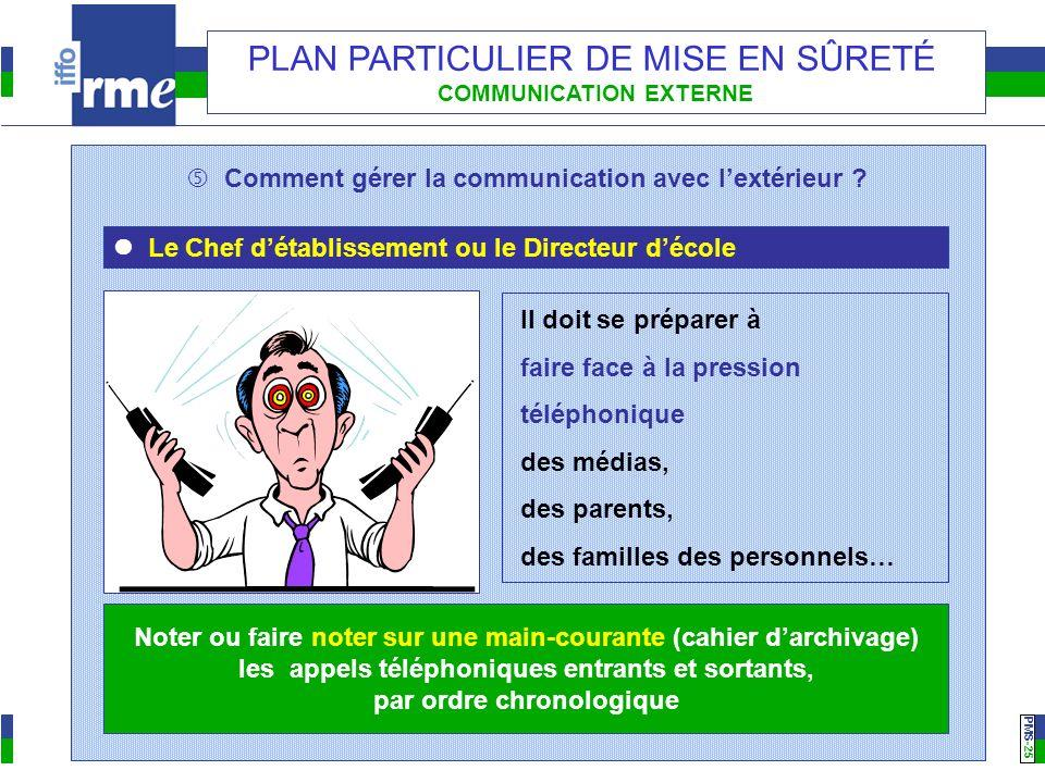 PMS -25 PLAN PARTICULIER DE MISE EN SÛRETÉ COMMUNICATION EXTERNE Comment gérer la communication avec lextérieur ? Le Chef détablissement ou le Directe