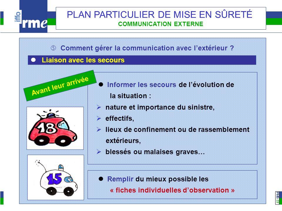 PMS -27 PLAN PARTICULIER DE MISE EN SÛRETÉ COMMUNICATION EXTERNE Comment gérer la communication avec lextérieur ? Liaison avec les secours Informer le