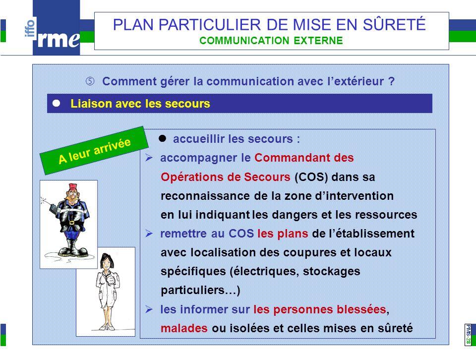 PMS -28 PLAN PARTICULIER DE MISE EN SÛRETÉ COMMUNICATION EXTERNE Comment gérer la communication avec lextérieur ? Liaison avec les secours accueillir