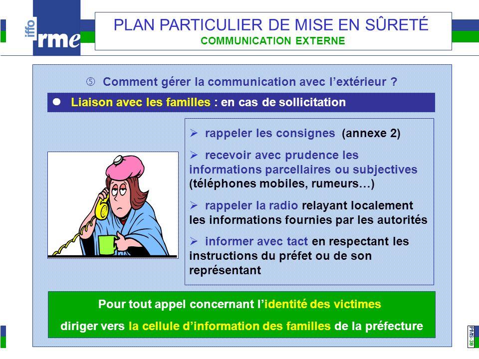 PMS -30 PLAN PARTICULIER DE MISE EN SÛRETÉ COMMUNICATION EXTERNE Comment gérer la communication avec lextérieur ? Liaison avec les familles : en cas d