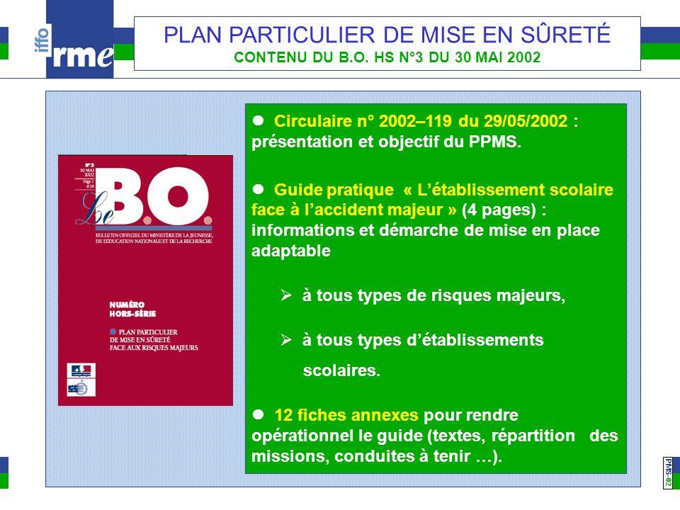 PMS -02 PLAN PARTICULIER DE MISE EN SÛRETÉ CONTENU DU B.O. HS N°3 DU 30 MAI 2002 Circulaire n° 2002–119 du 29/05/2002 : présentation et objectif du PP