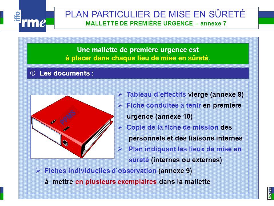 PMS -37 PLAN PARTICULIER DE MISE EN SÛRETÉ MALLETTE DE PREMIÈRE URGENCE – annexe 7 Les documents : Tableau deffectifs vierge (annexe 8) Fiche conduite