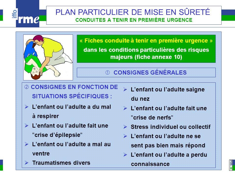 PMS -38 PLAN PARTICULIER DE MISE EN SÛRETÉ CONDUITES A TENIR EN PREMIÈRE URGENCE « Fiches conduite à tenir en première urgence » dans les conditions p