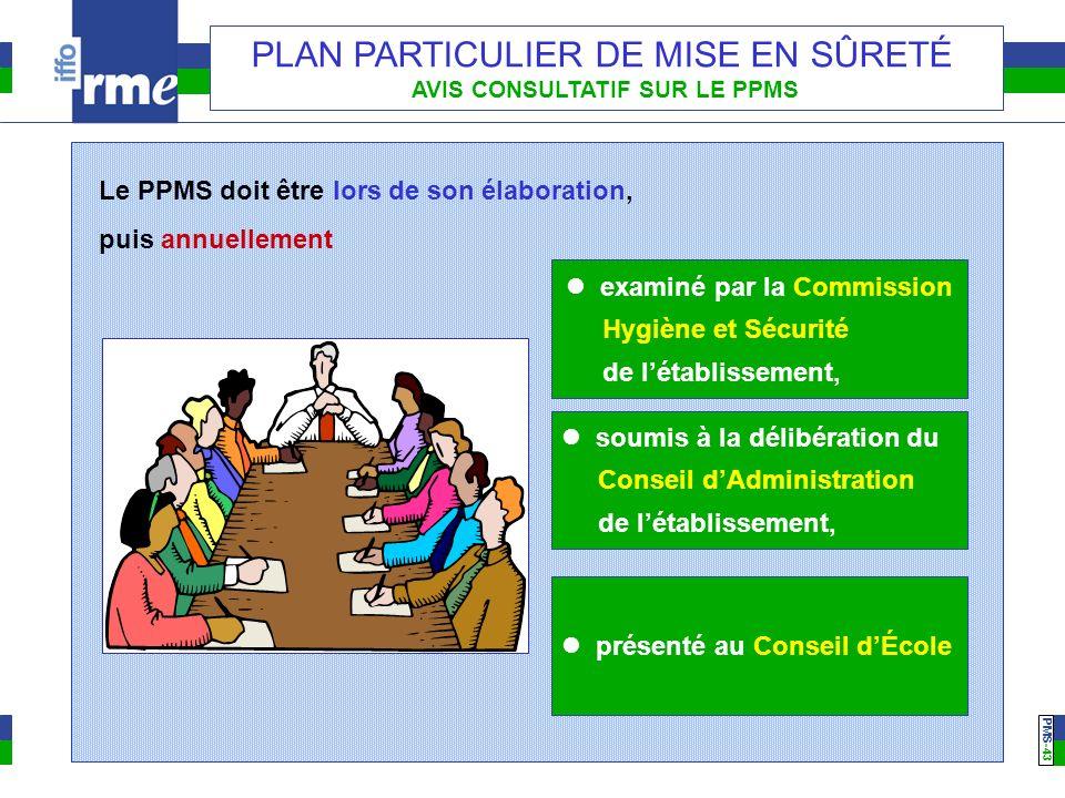PMS -43 PLAN PARTICULIER DE MISE EN SÛRETÉ AVIS CONSULTATIF SUR LE PPMS Le PPMS doit être lors de son élaboration, puis annuellement examiné par la Co