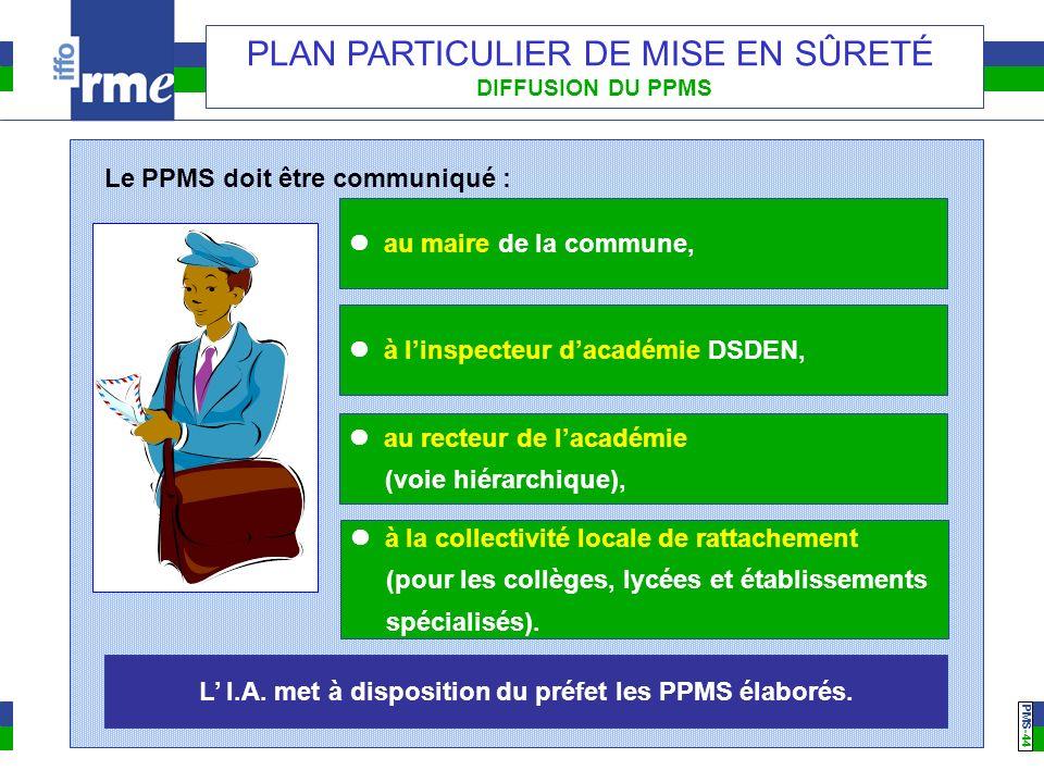 PMS -44 PLAN PARTICULIER DE MISE EN SÛRETÉ DIFFUSION DU PPMS Le PPMS doit être communiqué : au maire de la commune, à linspecteur dacadémie DSDEN, au