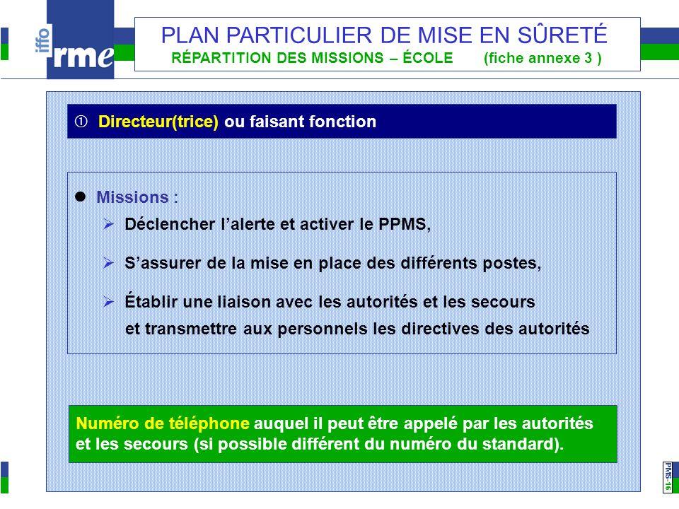 PMS -16 PLAN PARTICULIER DE MISE EN SÛRETÉ RÉPARTITION DES MISSIONS – ÉCOLE (fiche annexe 3 ) Missions : Déclencher lalerte et activer le PPMS, Sassur