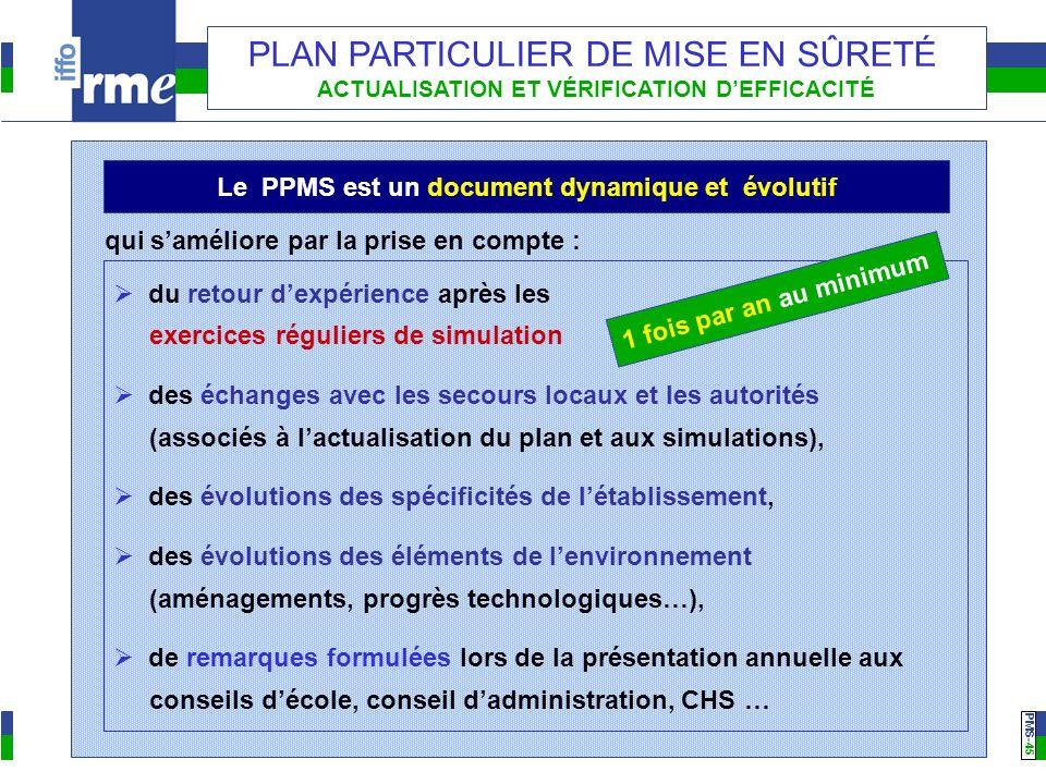 PMS -45 PLAN PARTICULIER DE MISE EN SÛRETÉ ACTUALISATION ET VÉRIFICATION DEFFICACITÉ du retour dexpérience après les exercices réguliers de simulation