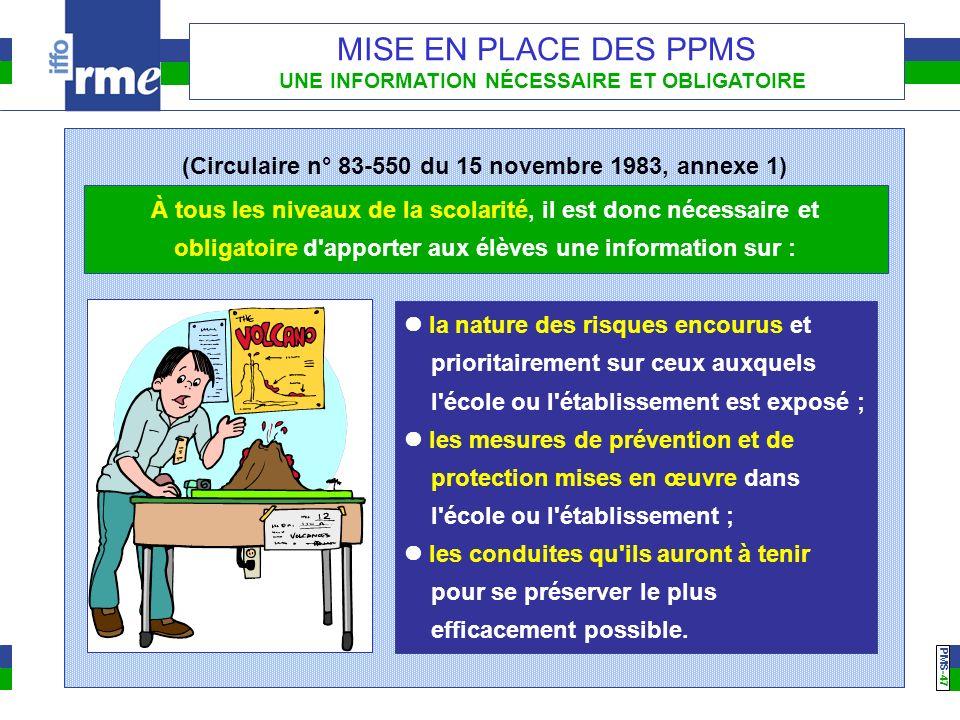 PMS -47 MISE EN PLACE DES PPMS UNE INFORMATION NÉCESSAIRE ET OBLIGATOIRE À tous les niveaux de la scolarité, il est donc nécessaire et obligatoire d'a