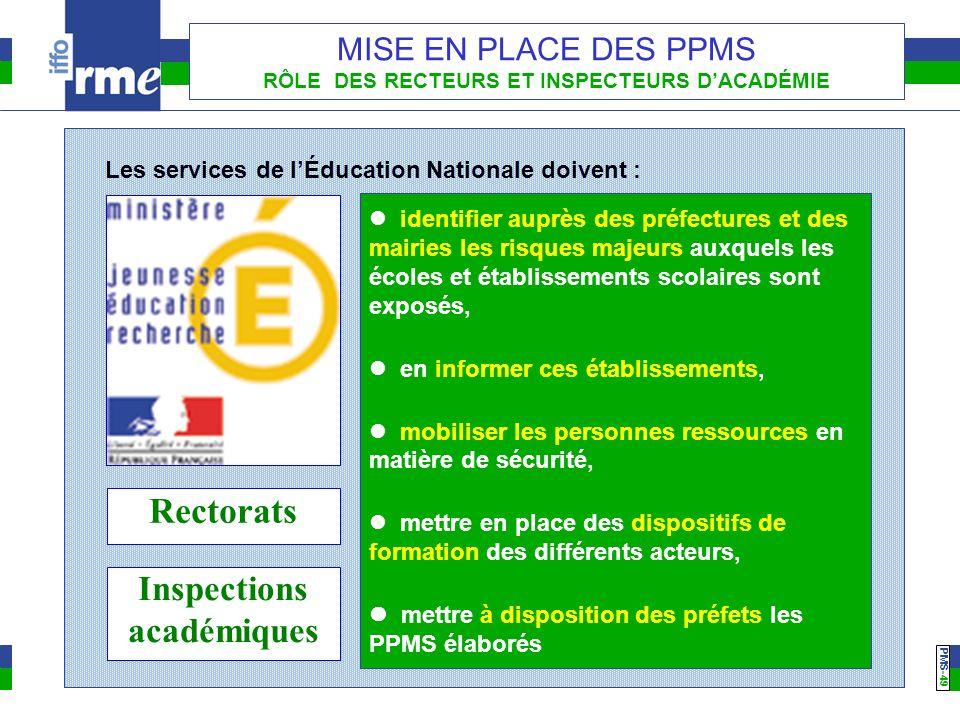 PMS -49 MISE EN PLACE DES PPMS RÔLE DES RECTEURS ET INSPECTEURS DACADÉMIE identifier auprès des préfectures et des mairies les risques majeurs auxquel