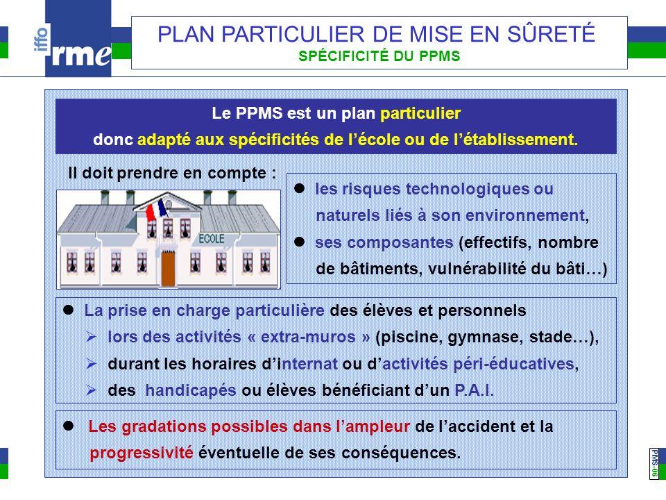 PMS -06 PLAN PARTICULIER DE MISE EN SÛRETÉ SPÉCIFICITÉ DU PPMS Le PPMS est un plan particulier donc adapté aux spécificités de lécole ou de létablisse