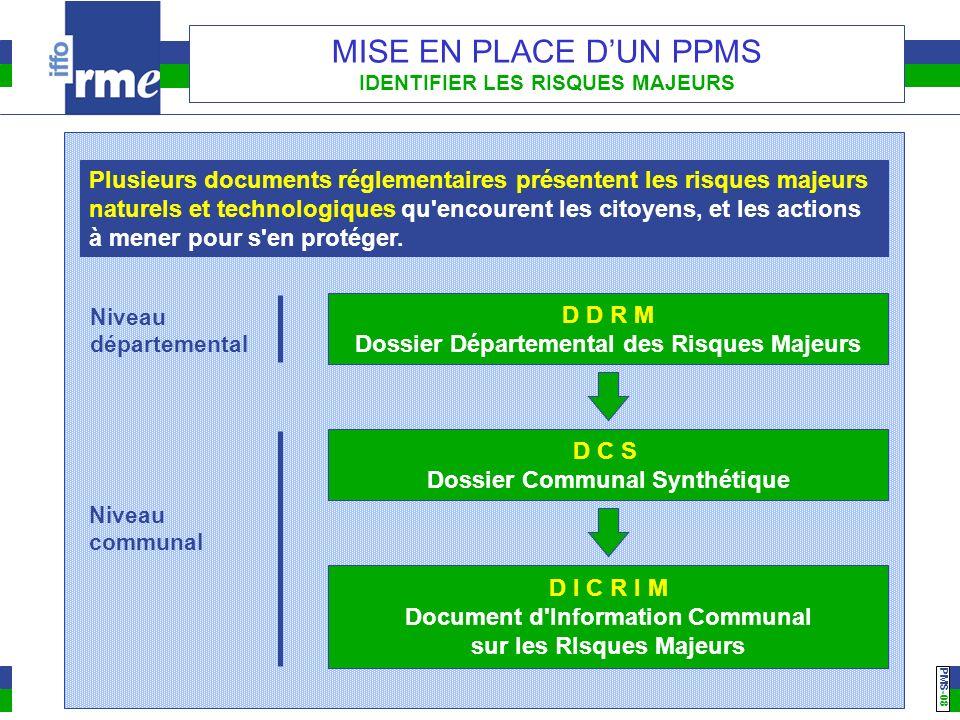 PMS -08 MISE EN PLACE DUN PPMS IDENTIFIER LES RISQUES MAJEURS D D R M Dossier Départemental des Risques Majeurs Niveau départemental D I C R I M Docum