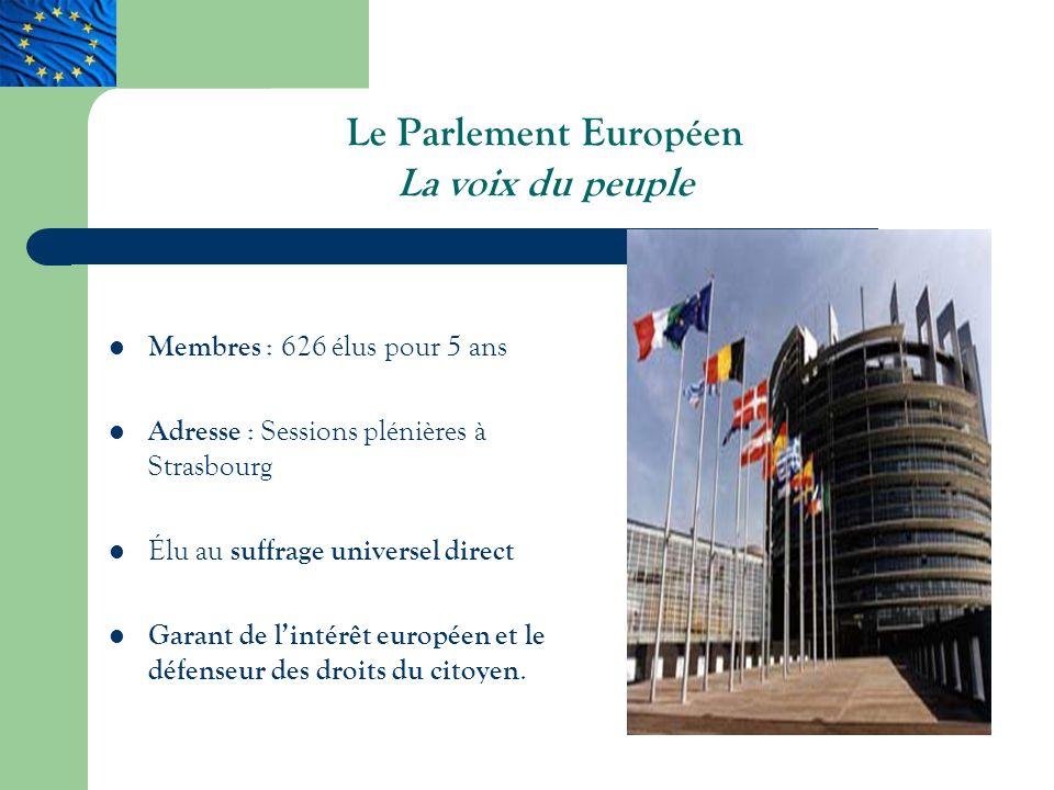 Le Parlement Européen La voix du peuple Membres : 626 élus pour 5 ans Adresse : Sessions plénières à Strasbourg Élu au suffrage universel direct Garant de lintérêt européen et le défenseur des droits du citoyen.