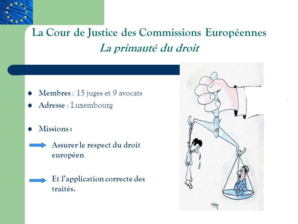 La Cour de Justice des Commissions Européennes La primauté du droit Membres : 15 juges et 9 avocats Adresse : Luxembourg Missions : Assurer le respect du droit européen Et lapplication correcte des traités.