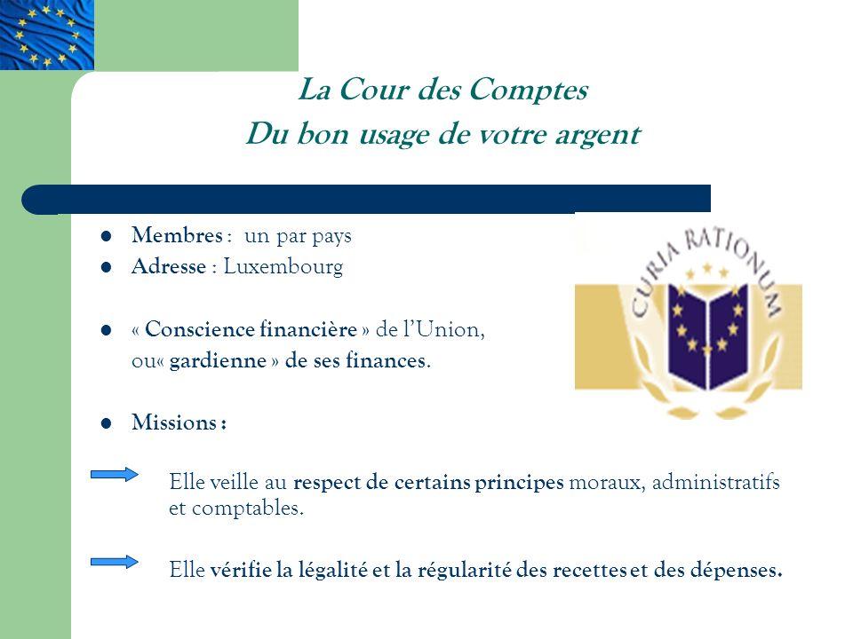 La Cour des Comptes Du bon usage de votre argent Membres : un par pays Adresse : Luxembourg « Conscience financière » de lUnion, ou « gardienne » de ses finances.