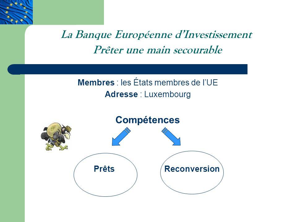 La Banque Européenne dInvestissement Prêter une main secourable Membres : les États membres de lUE Adresse : Luxembourg Compétences PrêtsReconversion